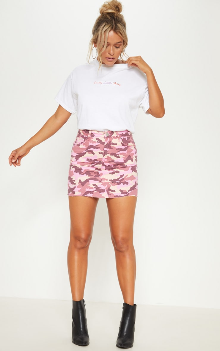 Pink Camo Denim Skirt  5