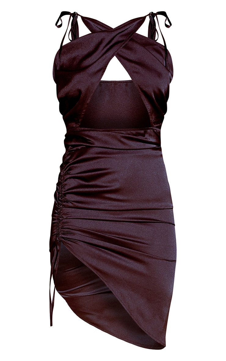 Black Satin Cut Out Ruched Bodycon Dress 5