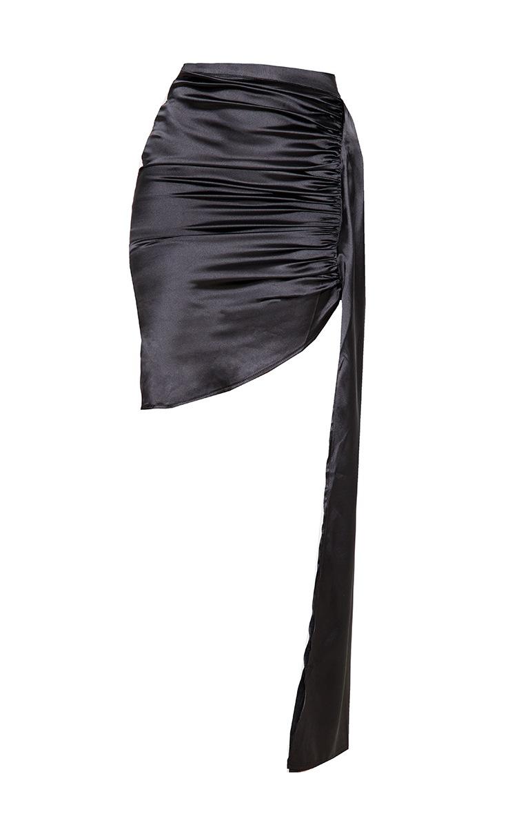 Black Ruched Satin Side Skirt 3