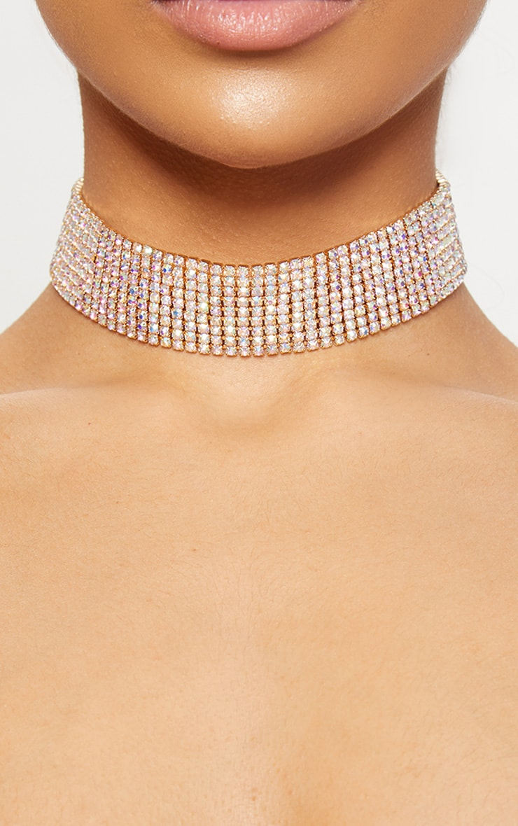 Iridescent Wide Diamante Choker 1