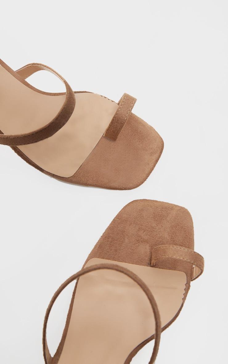 Sand Toe Loop Chunky Block Heel Sandal 3