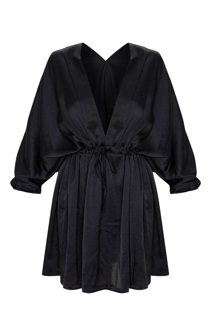Black Textured Woven Plunge Tie Waist Skater Dress 3
