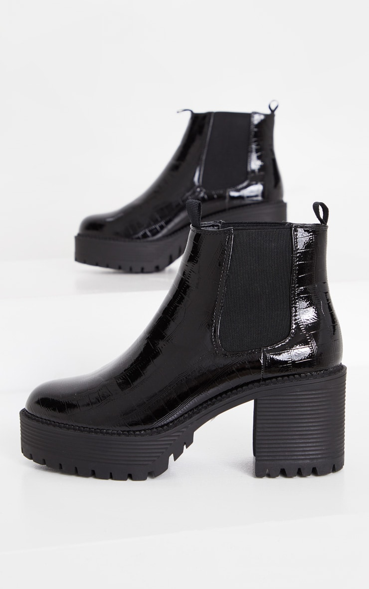 Black PU Chunky Cleated Chelsea Ankle Boot 3