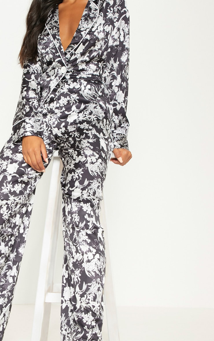 Black Floral Satin Printed Wide Leg Trousers 5