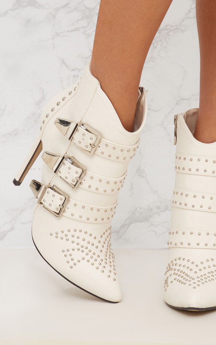 White Studded Buckle Ankle Boots 5