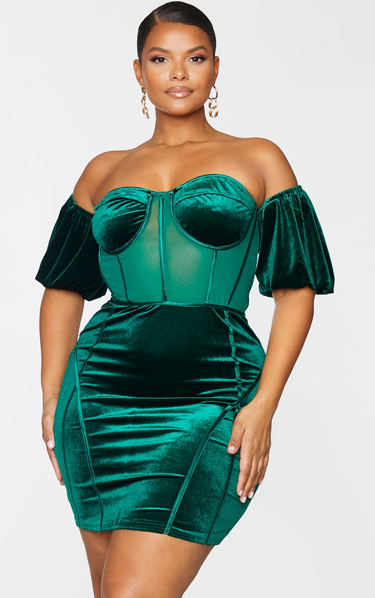Plus Emerald Green Velvet Corset Bardot Mesh Insert Bodycon Dress 3