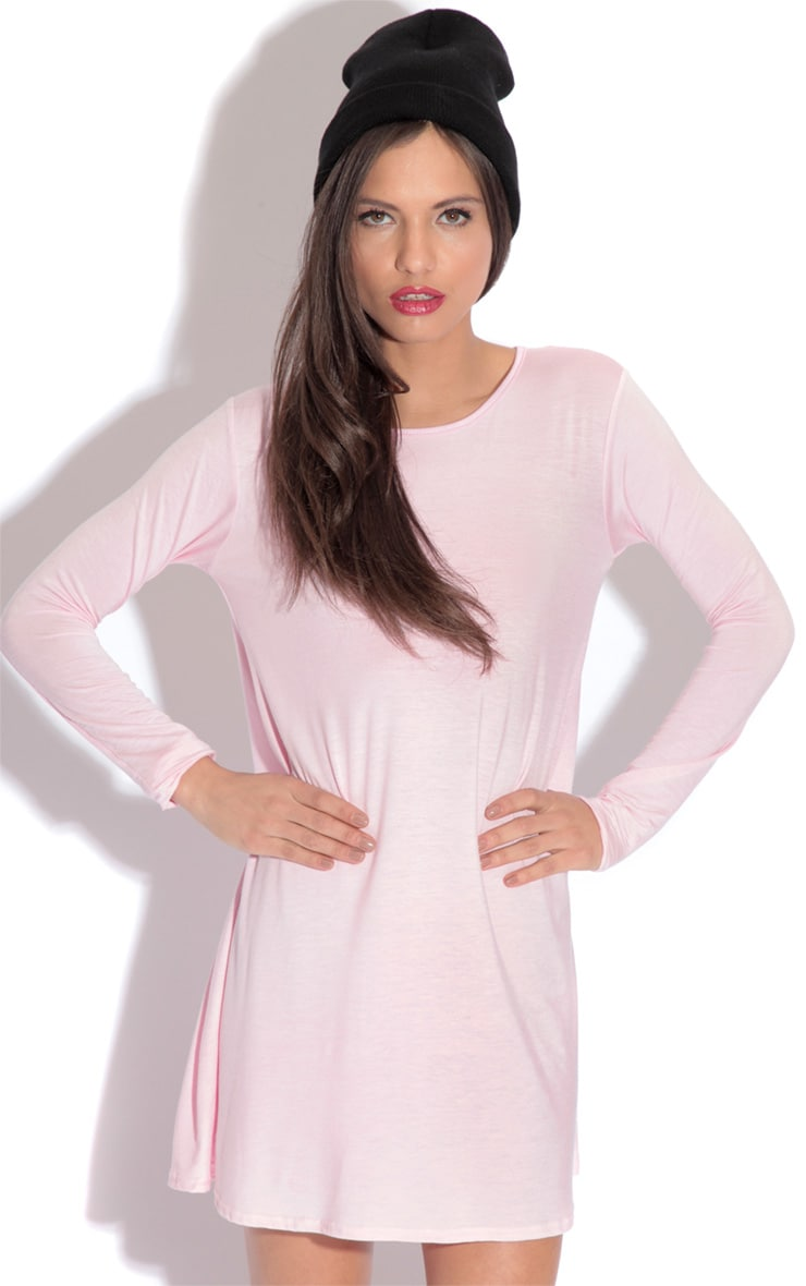 Rosie Pink Jersey Swing Dress 1