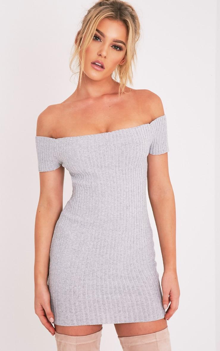 Jordi robe mini bardot grise tricotée et côtelée 1