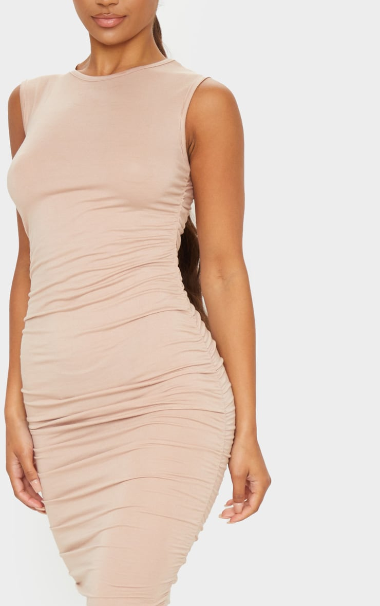 Stone Sleeveless Crew Neck Ruched Side Midi Dress 4