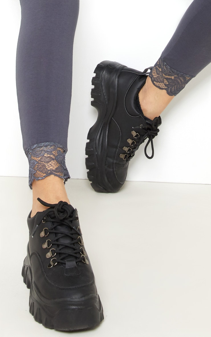 Grey Lace Trim Cotton Elastane Legging 5