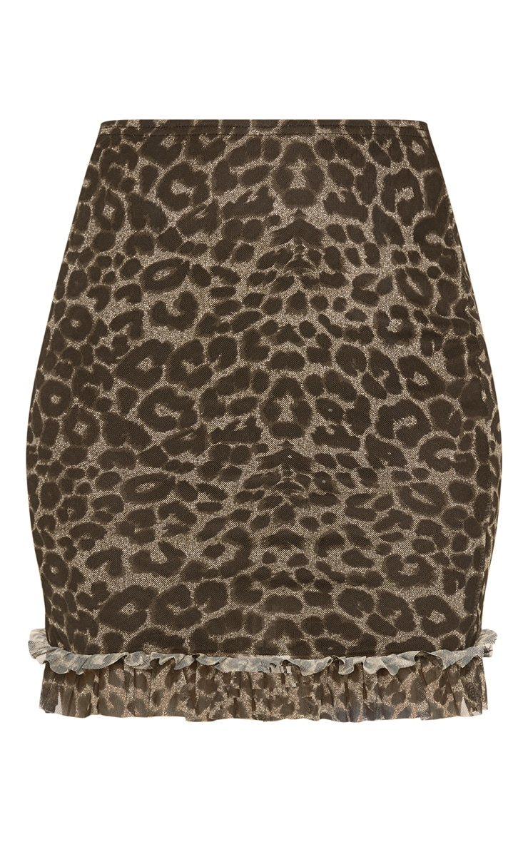 Tan Leopard Print Frill Hem Mini Skirt 3