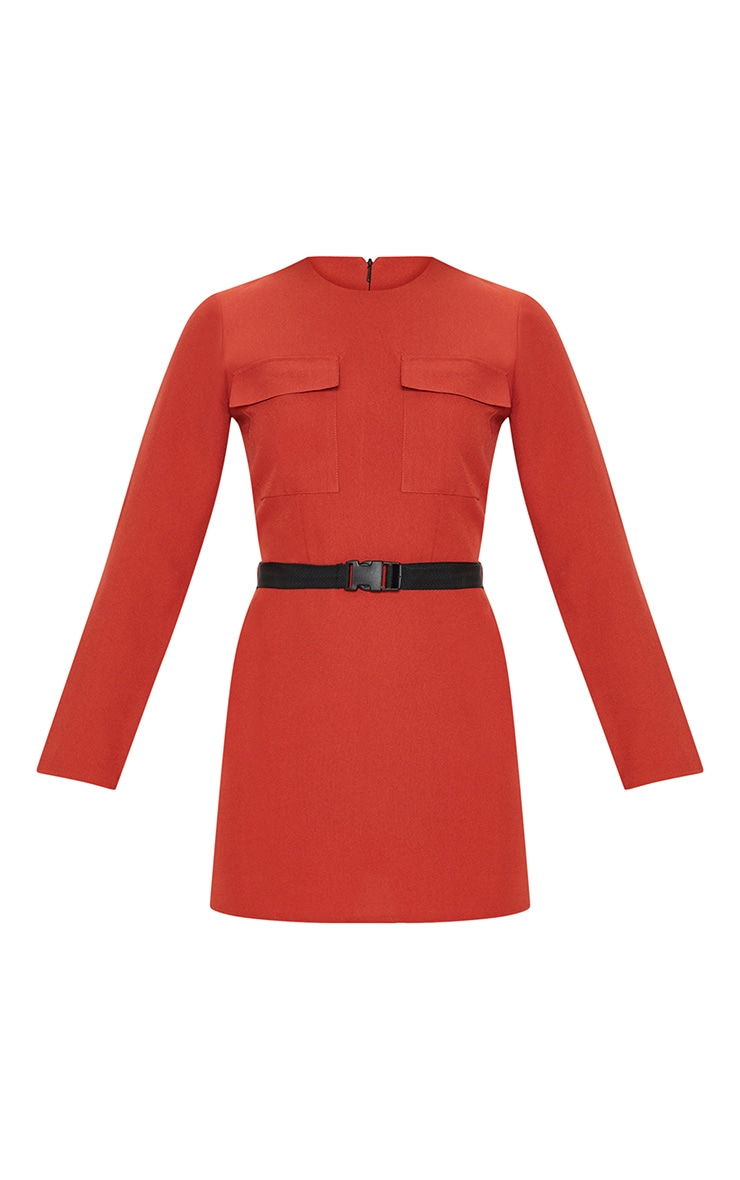 Rust Utility Belted Shift Dress 3