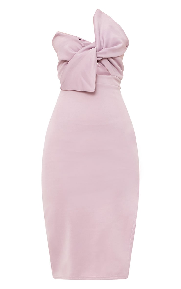 Elisse Mauve Bow Detail Scuba Midi Dress 2