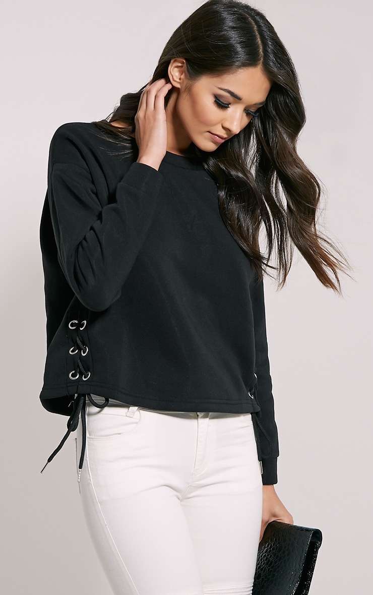 Kiera Black Lace Up Side Sweatshirt 1
