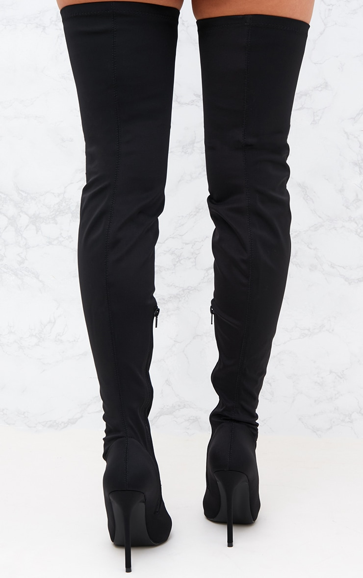 Black Lycra Thigh High Pointed Sock Boot 4