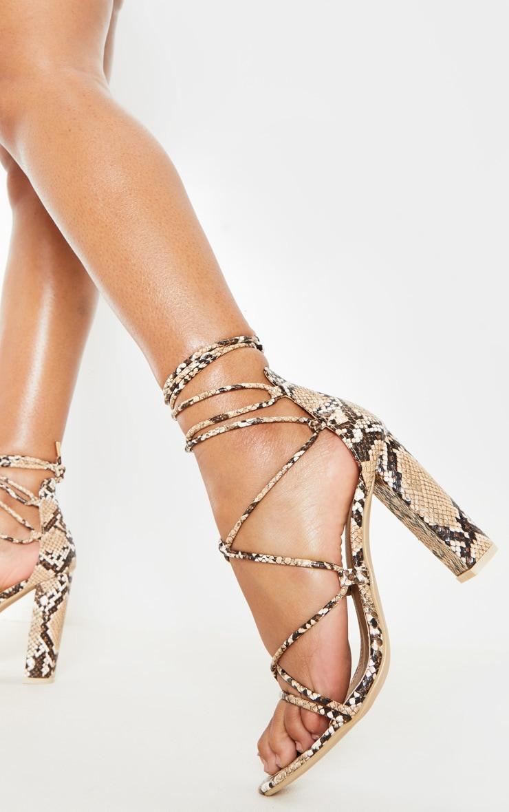 Snake Block Heel Ghillie Tie Up Sandal