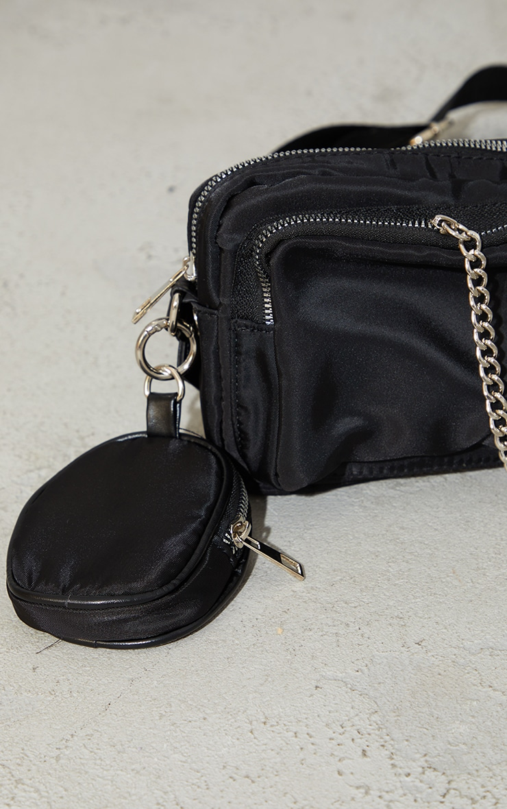 Black Nylon Chain Detail Cross Body Bag 3