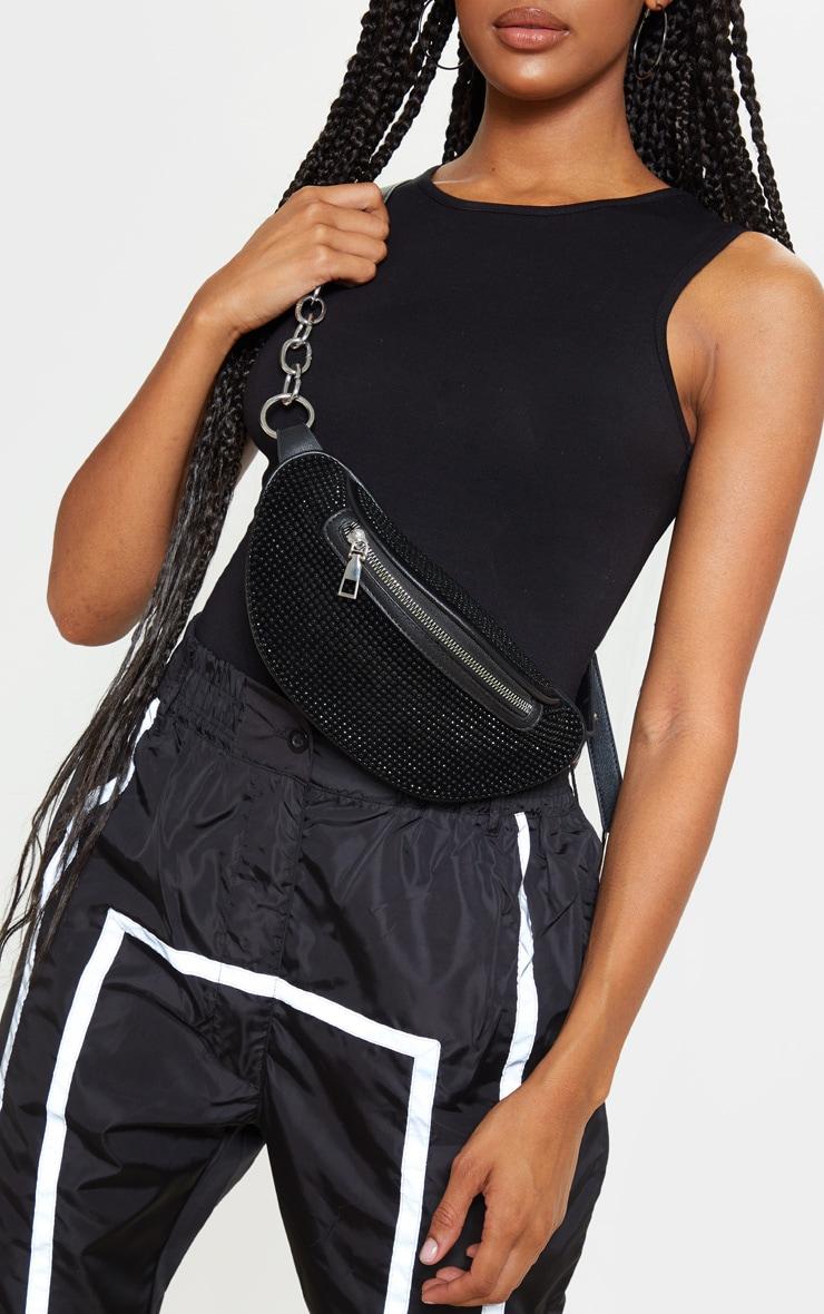 Black Diamante Studded Bum Bag  1