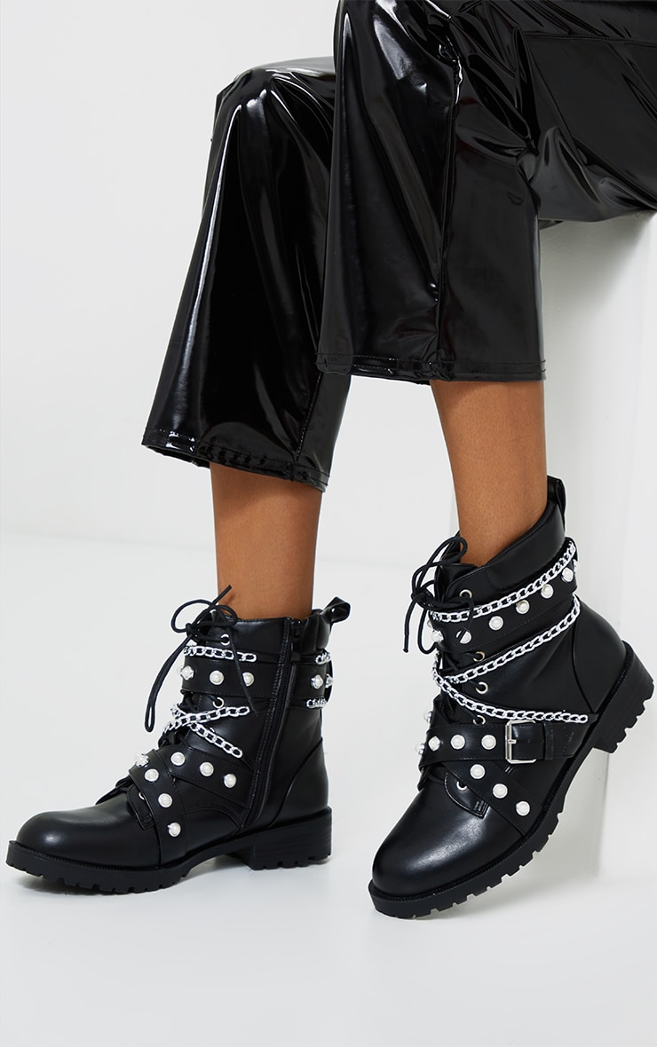 Black Studded Chain Trim Lace Up Biker Boots 1