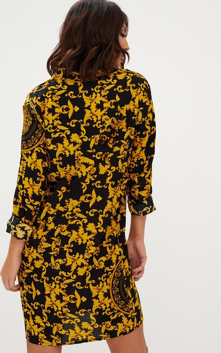 Black Chain Print Shirt Dress 2
