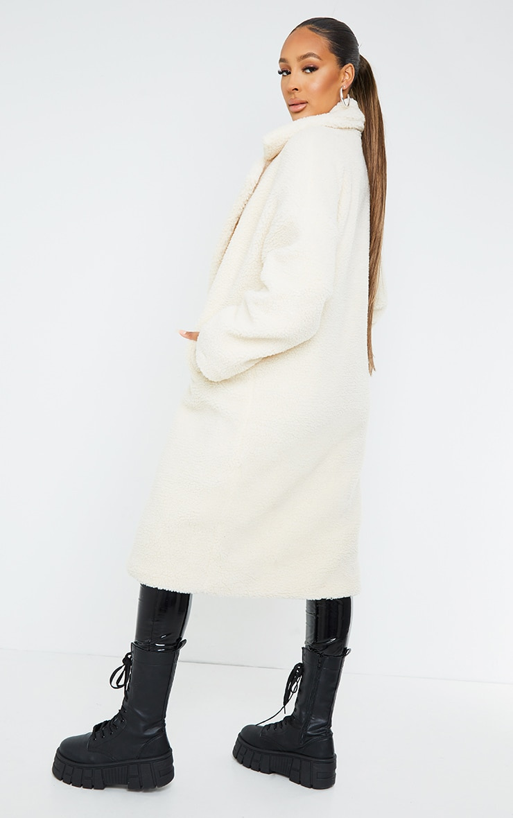 White Borg Lapel Drop Arm Maxi Coat 2