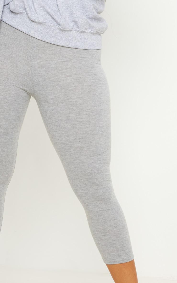 Grey Basic Cropped Jersey Leggings  5
