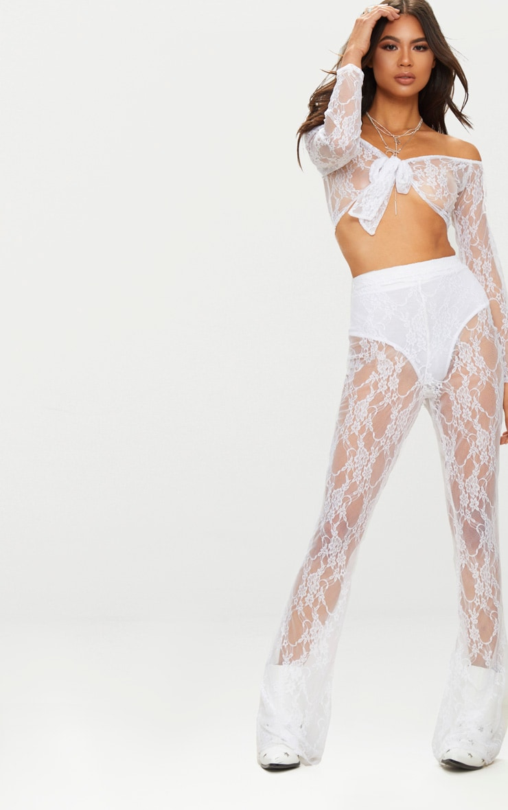 white Lace Flared Trousers 1