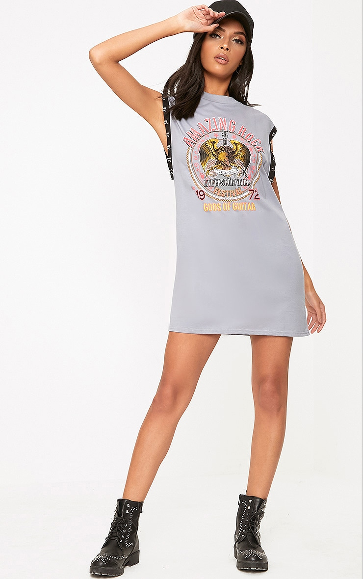 Grey Amazing Rock Hook & Eye Printed T Shirt Dress 4