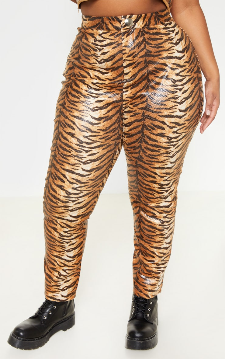 Plus Tiger Print Snake High Waisted Trousers 2