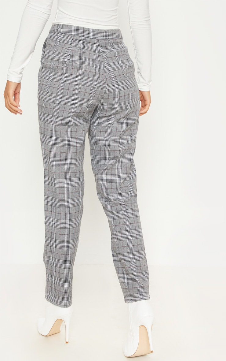 Grey Check Slim Leg Pants 4