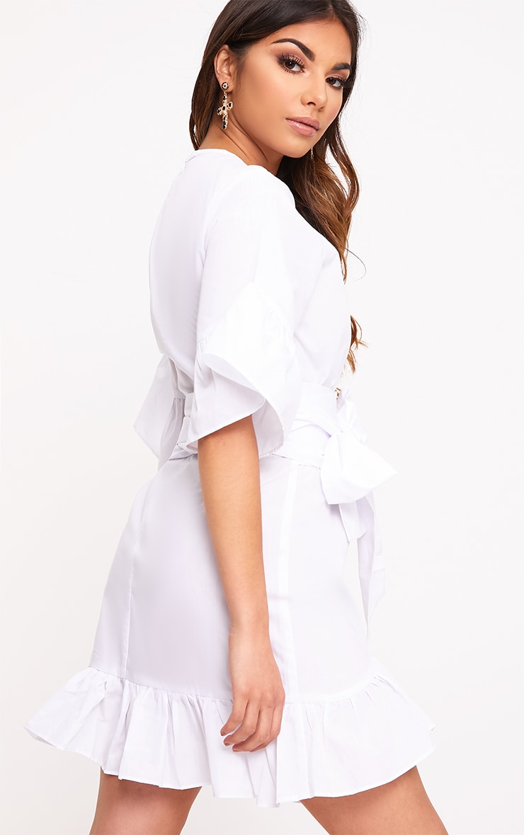 Aaliyah White Frill Detail Mini Dress 2