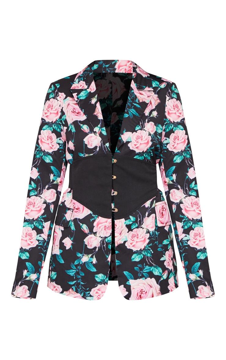 Black Rose Print Corset Woven Blazer 6