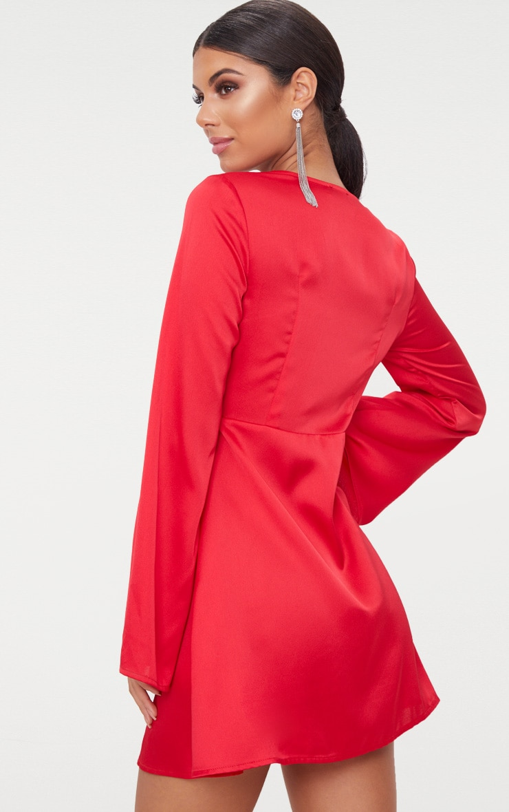 Red Satin Flare Sleeve Knot Detail Plunge Skater Dress 2