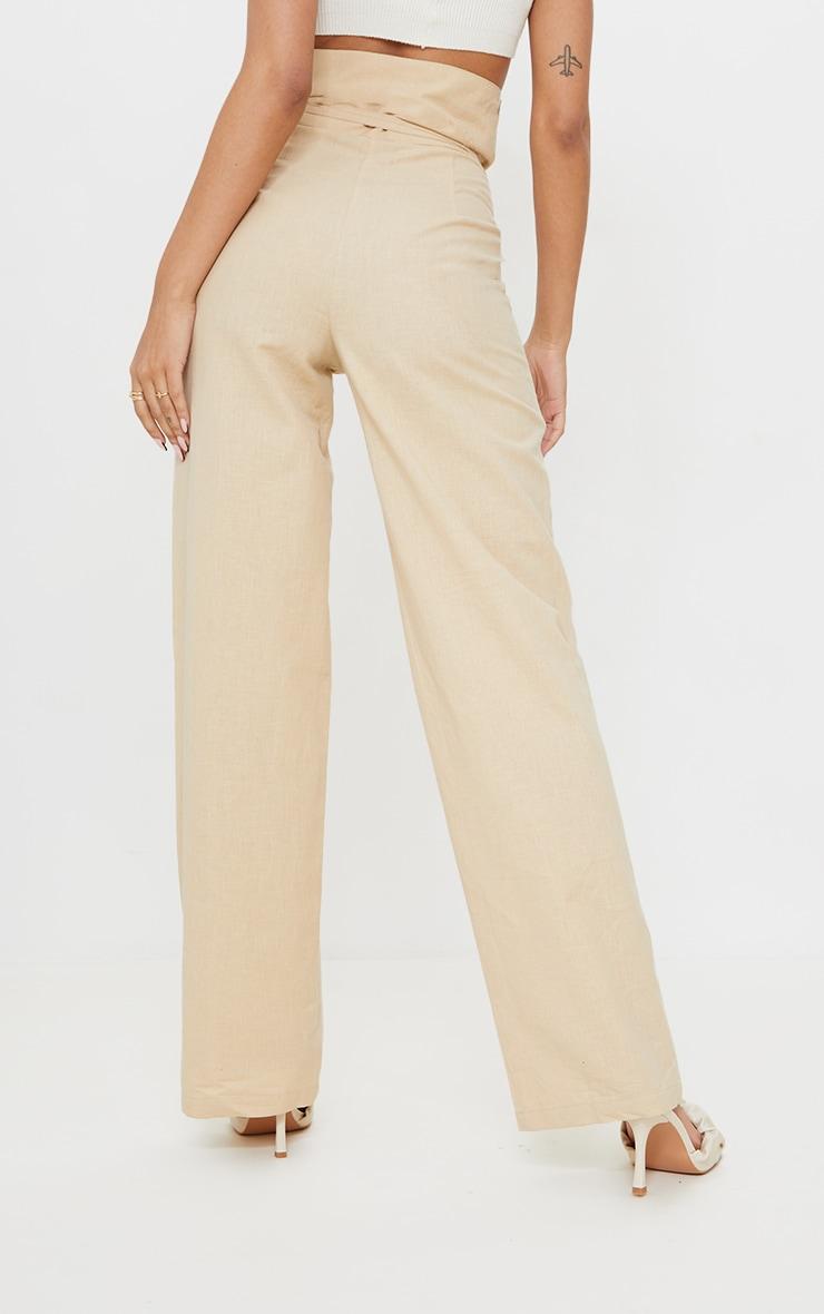 Stone High Waisted Linen Wide Leg Pants 3