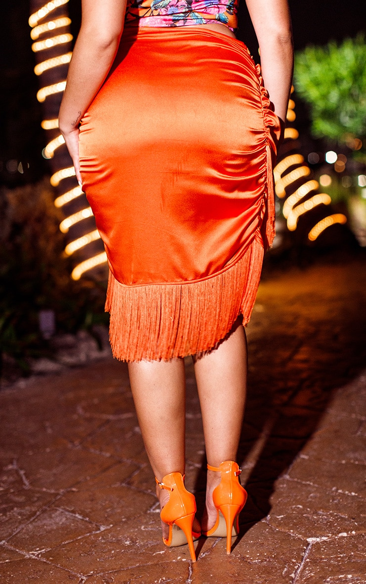 Plus Orange Satin Ruched Side Tassel Bodycon Skirt 4