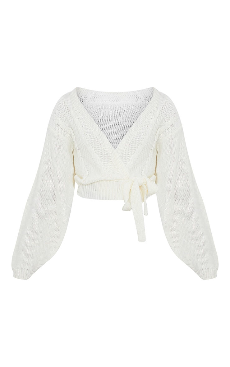 Cream Cable Tie Wrap Front Knitted Cardigan 5