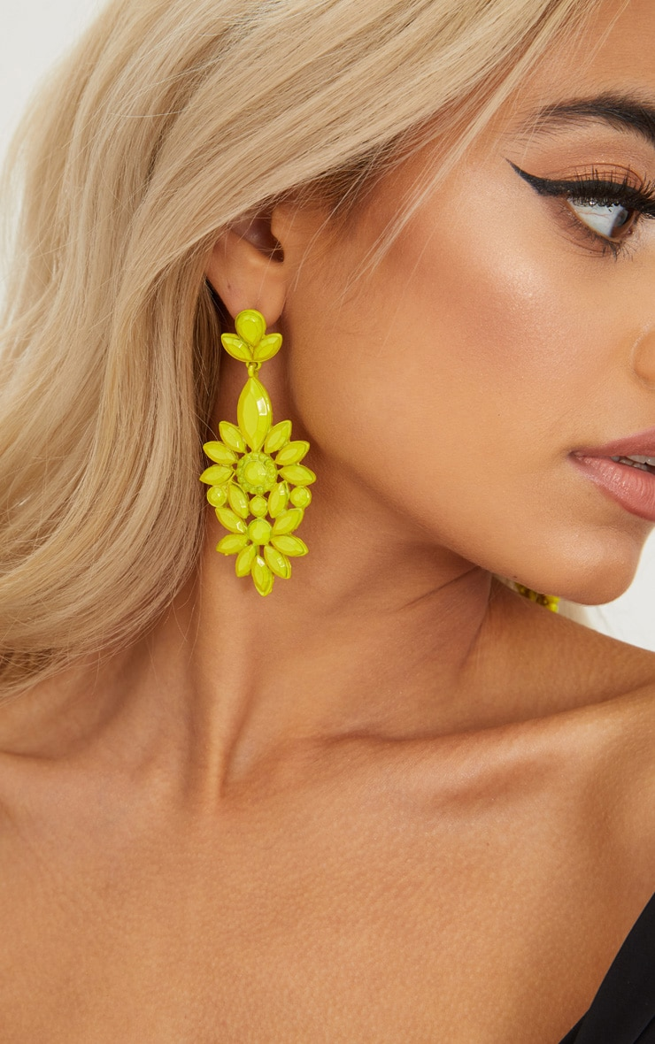 Neon Yellow Statement Jewel Drop Earrings