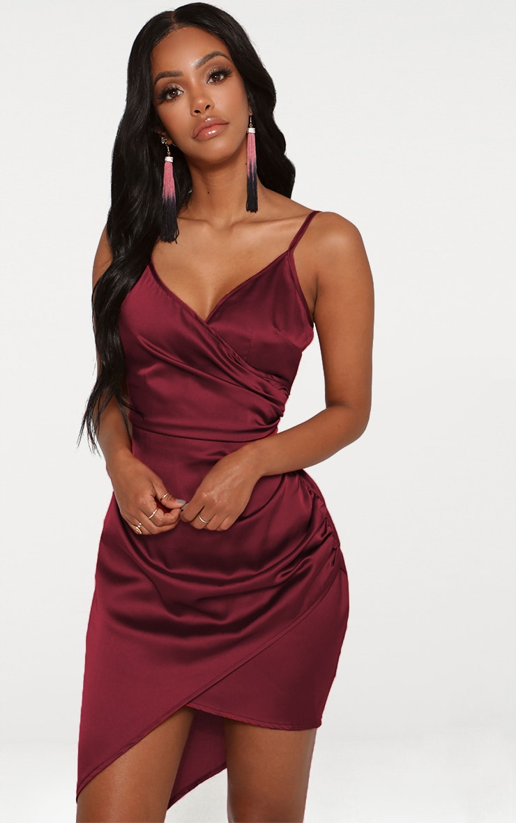 Shape Burgundy Satin Wrap Dress 1