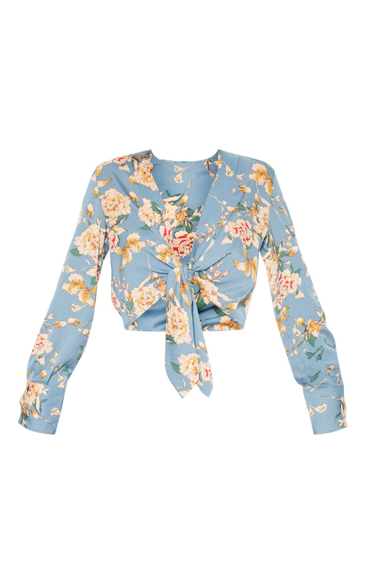 Teal Floral Tie Front Cropped Blouse 3