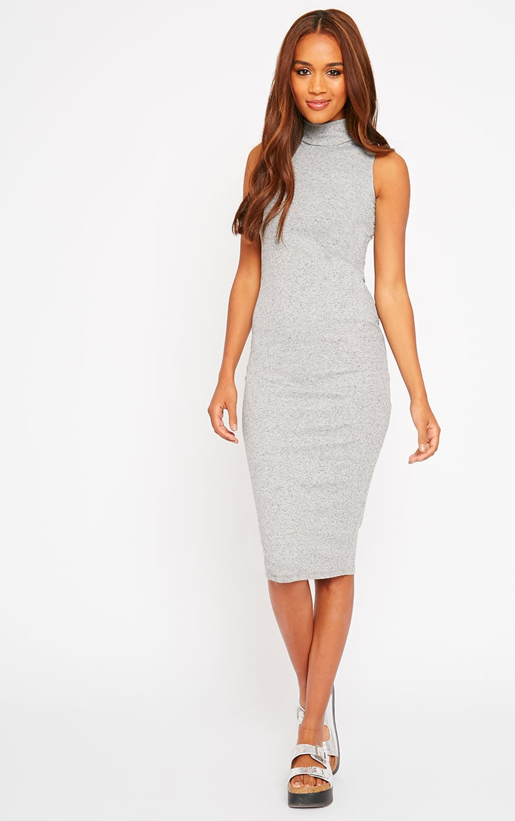Basic Grey High Neck Dress 1