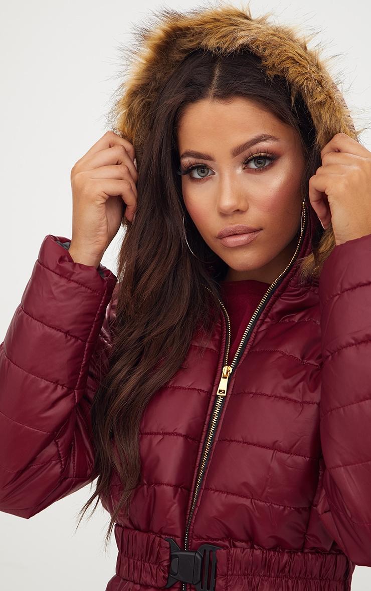 Wine Longline Belted Faux Fur Hooded Puffer Jacket 5