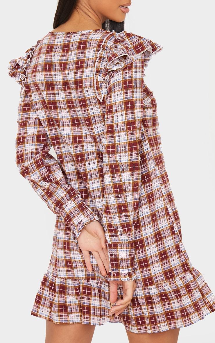 Petite Red Checked Frill Hem Long Sleeve Mini Dress 6