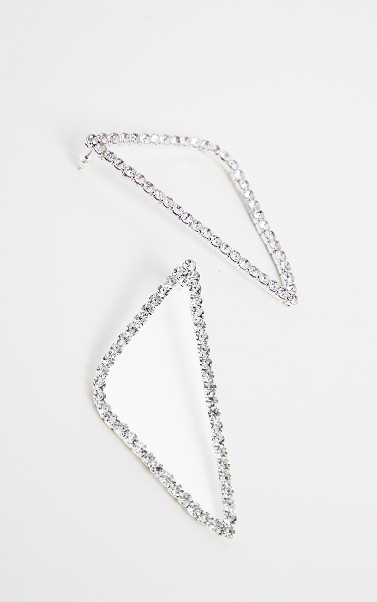 Crystal Diamante Triangle Earrings 2