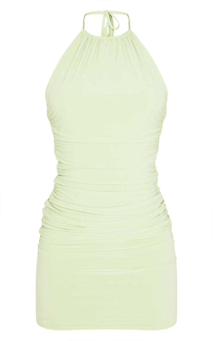 Tall - Robe moulante vert citron détail froncé 5