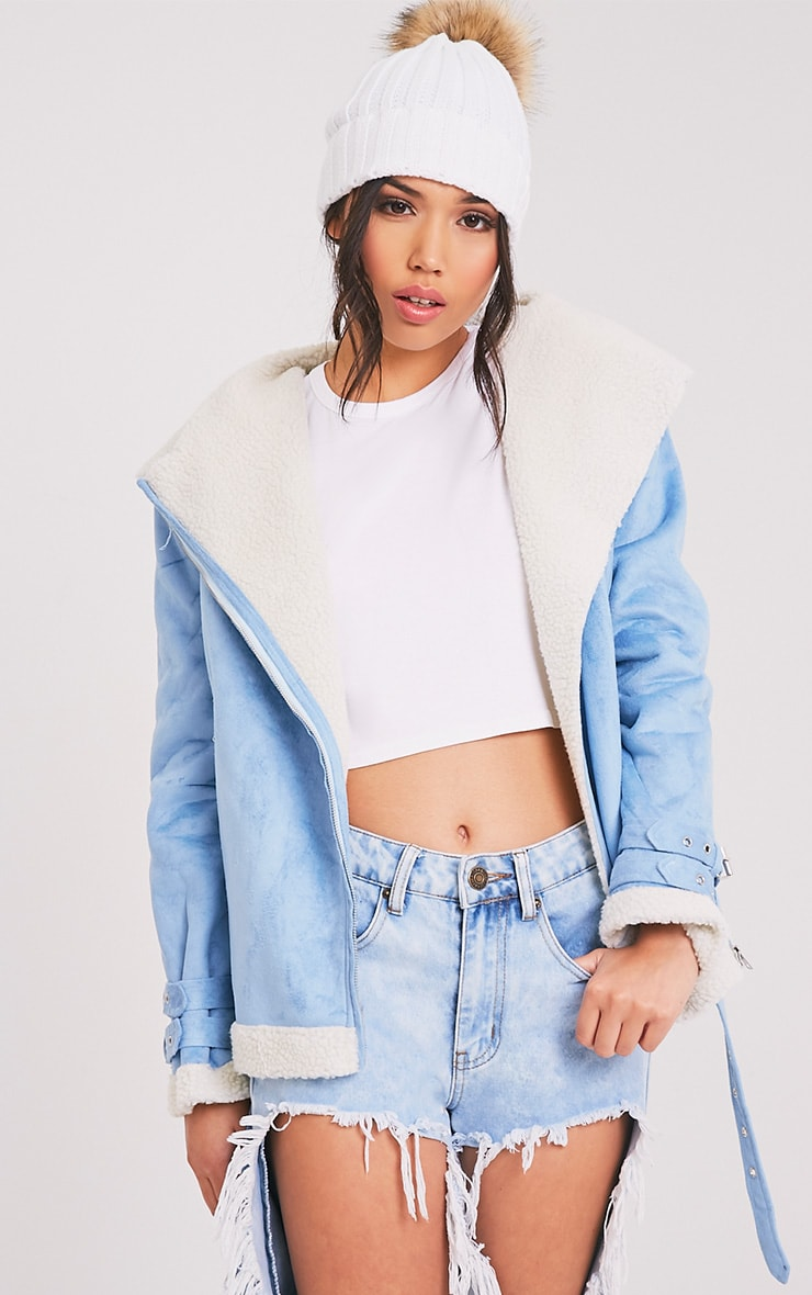 Emilia Blue Faux Suede Aviator Jacket 1