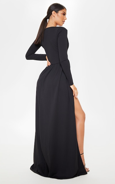 Black Long Sleeve Plunge Maxi Dress