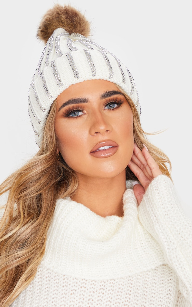 Cream All Over Diamante Beanie Hat 1