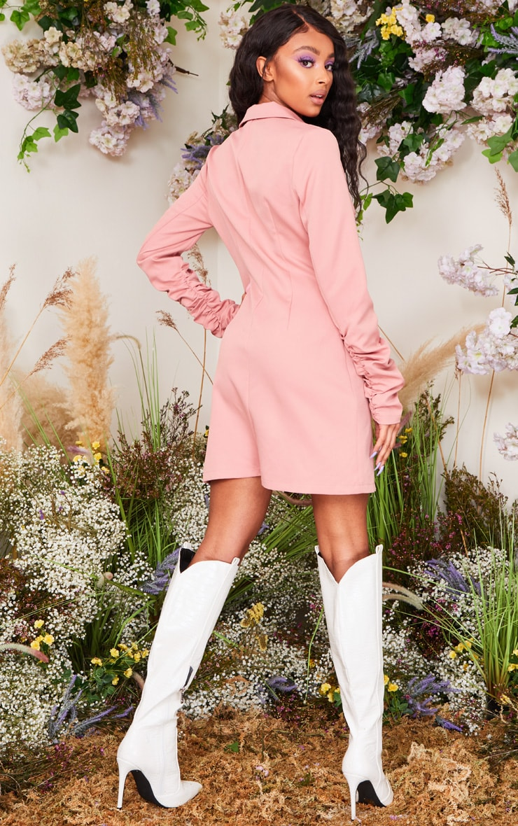 Rose Long Ruched Sleeve Woven Blazer Dress 2