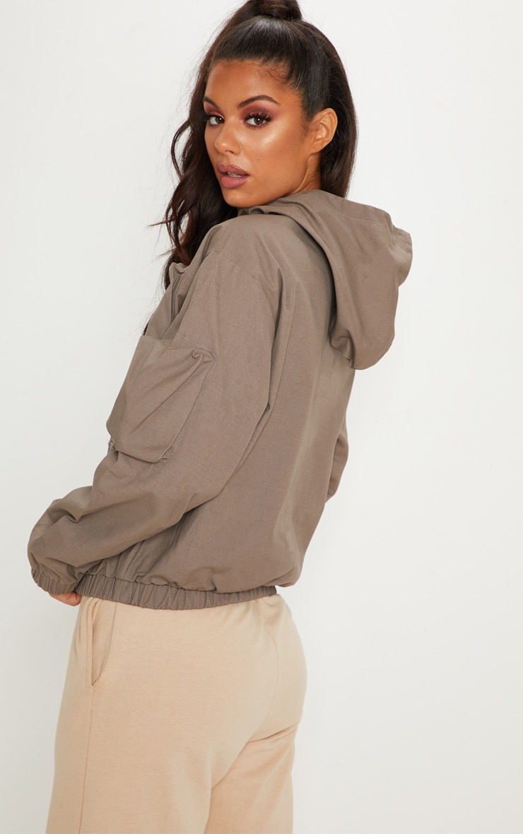 Taupe Pocket Front Cargo Hoodie 3