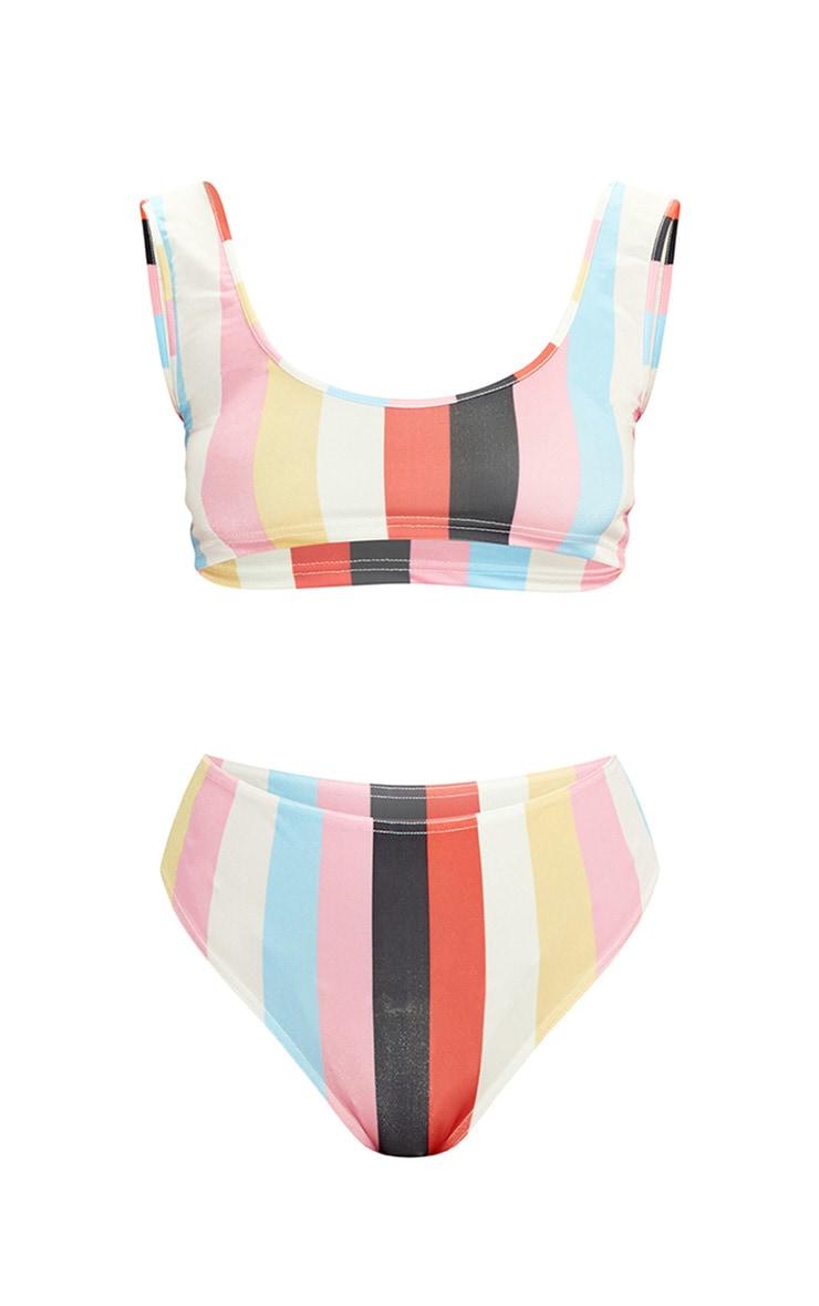 Multi Stripe Leopard High Waisted Bikini Set 3